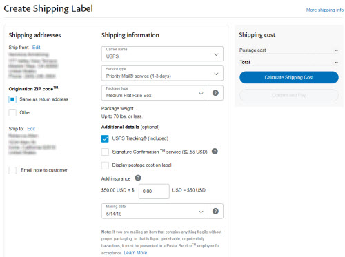 print shipping labels from paypal