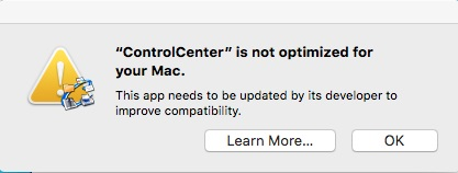 ControlCenter is not optimized for your Mac